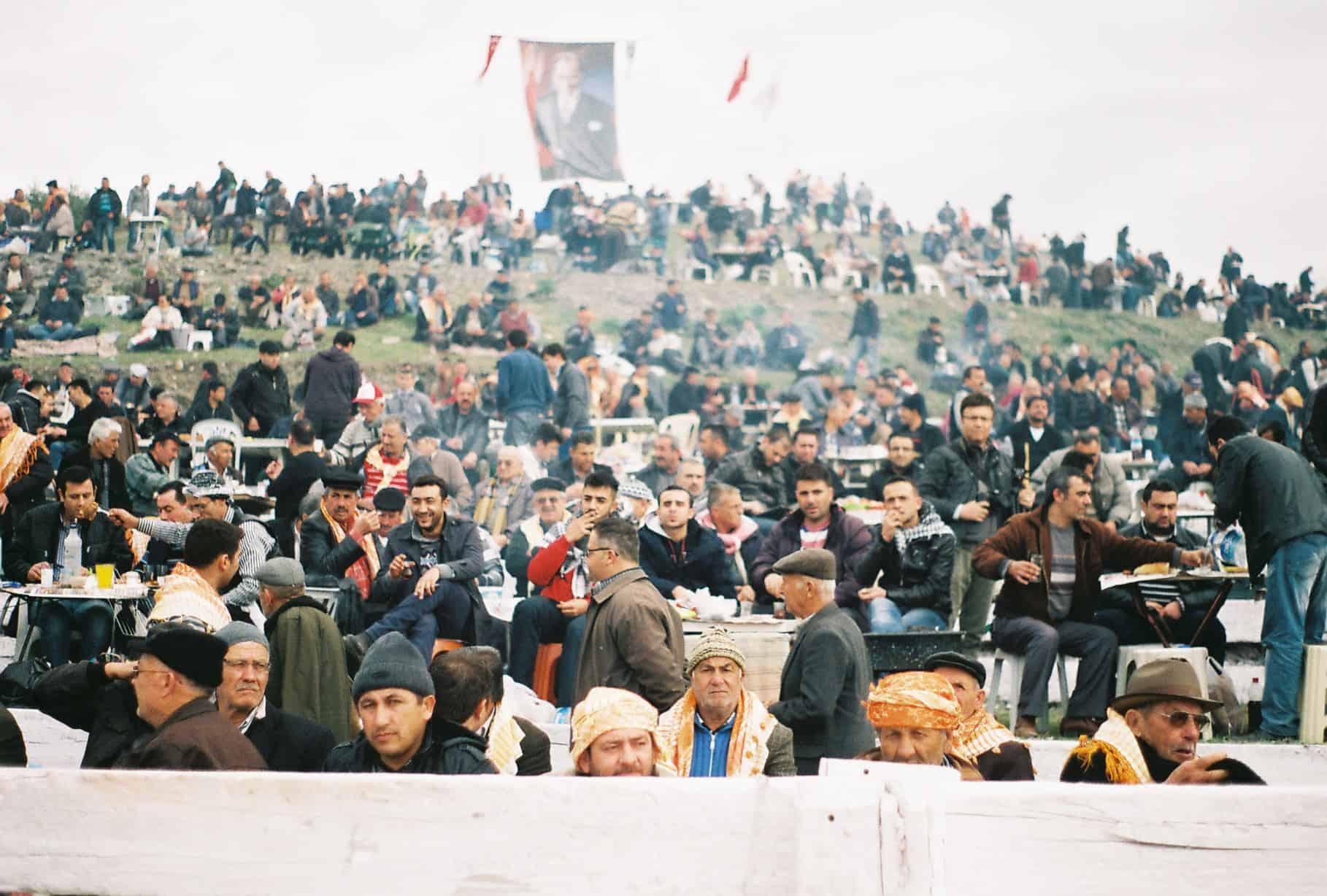 Men Watch The Field (camel wrestling festival)
