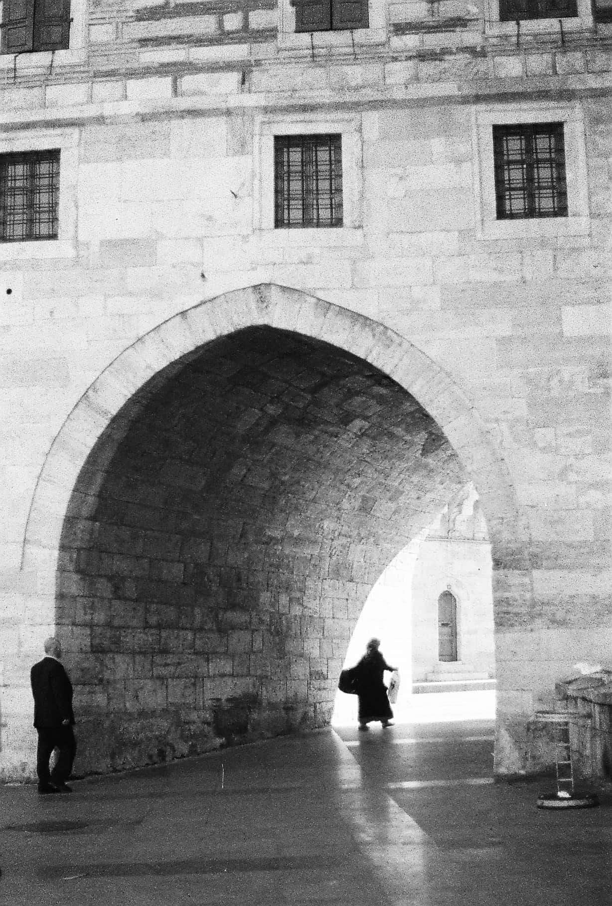 New Mosque Street View (Istanbul in Black-and-White)