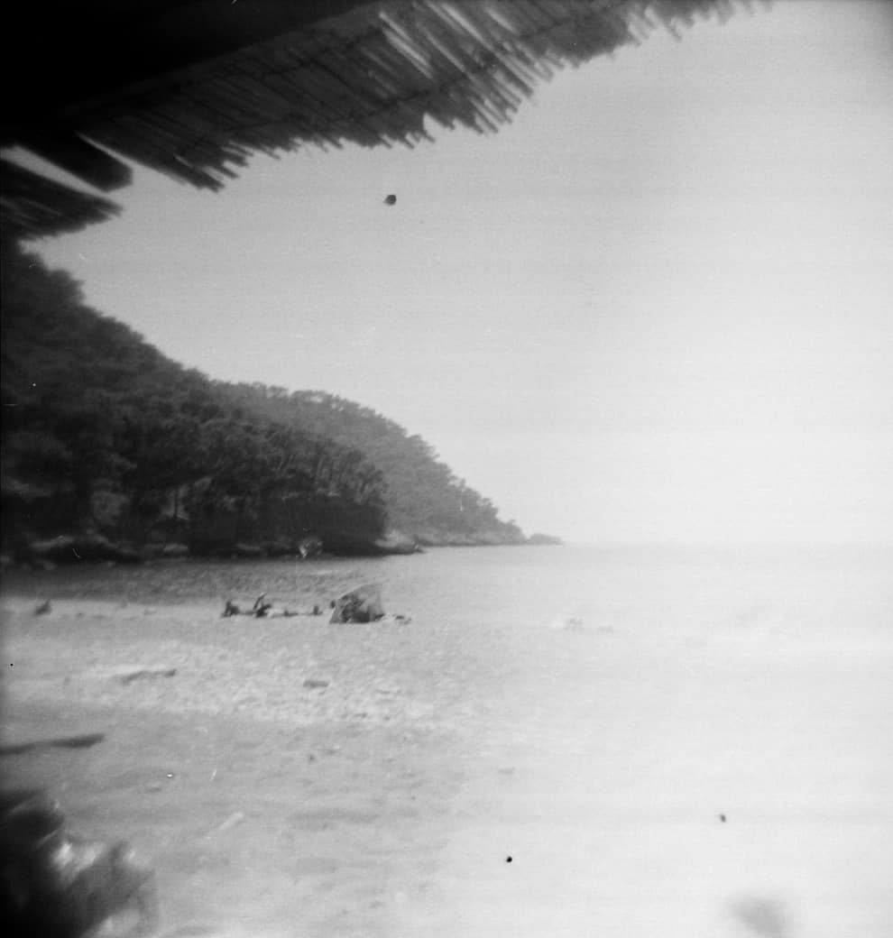 Reading on Vacation. View from Kabak beach, shot on a Holga